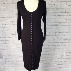 Black Stretch knit snap front long sleeve dress